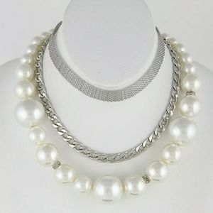 BOUJEE FAUX PEARL & METAL CHAIN NECKLACE SET